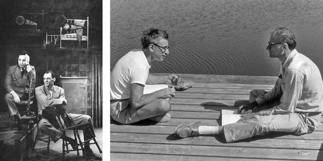 A la izda., Miller y el director Elia Kazan en la época de la representación de 'Muerte de un viajante'. Al lado, Kazan y Miller en Roxbury , 1963.