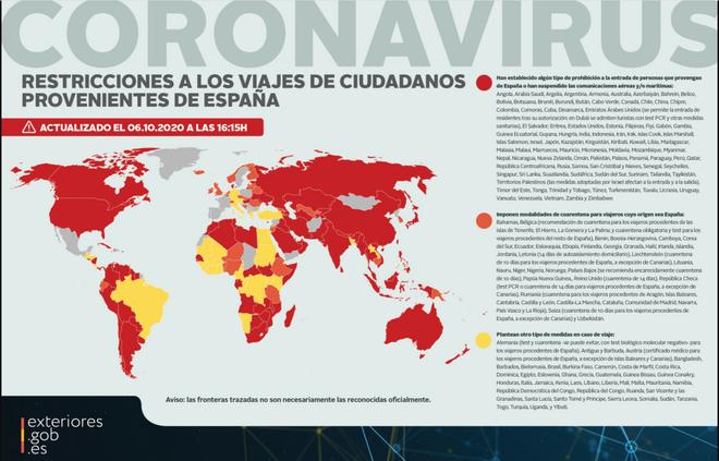 Restricciones a los viajes desde España.