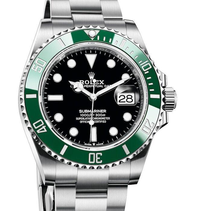 El verde Rolex de este Submariner está acompañado de esfera negra y caja de acero Oystersteel.