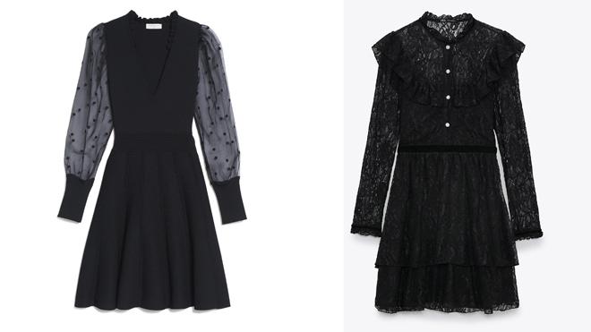 SANDRO Vestido con mangas de plumeti. PVP: 245€ // ZARA Vestido de encaje negro. PVP: 39.95€
