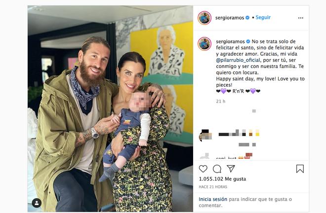 Sergio Ramos felicita a Pilar Rubio