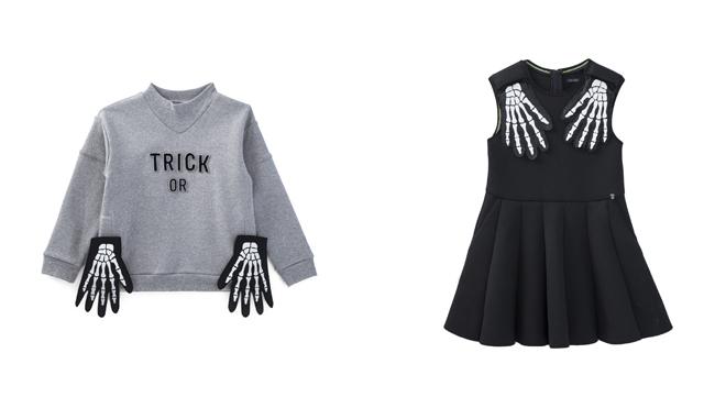 Sudadera gris. PVP: 69€ // Vestido negro con manos de esqueleto. PVP: 89€