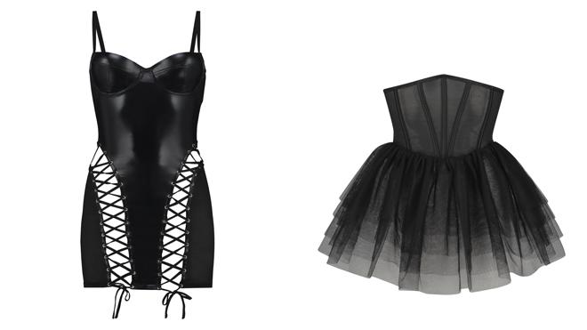 Vestido de cuero negro. PVP: 59.99€ // Corpiño con falda de tul. PVP: 39.99€