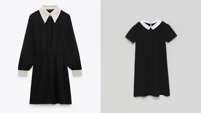 ZARA Vestido negro con cuello blanco. PVP: 39.95€ // LEFTIES Vestido infantil bicolor. PVP: 9.99€