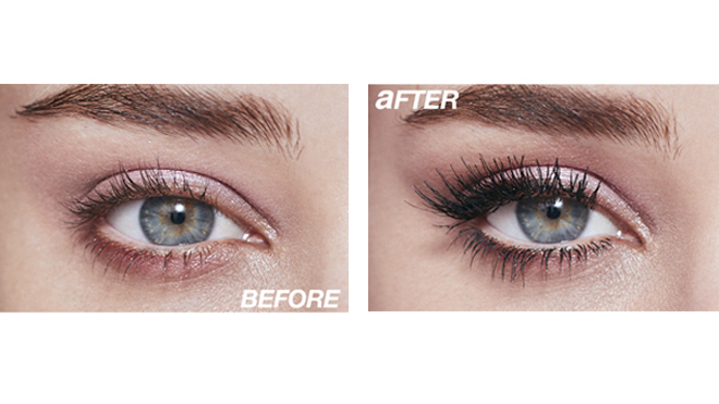 Antes y después del uso de máscara de pestañas
