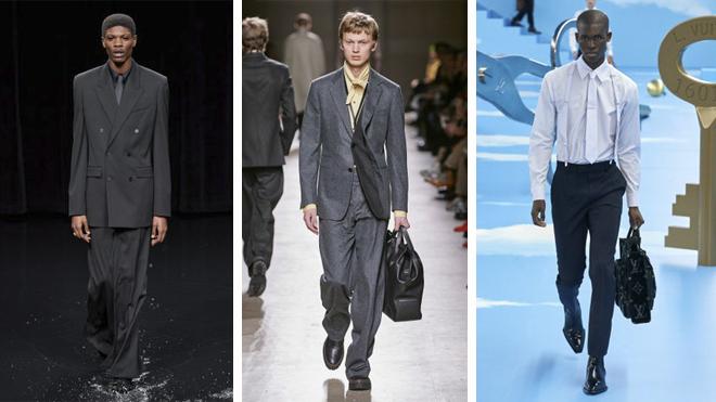 De izquierda a derecha: pasarelas de Balenciaga, Hermés y Louis Vuitton