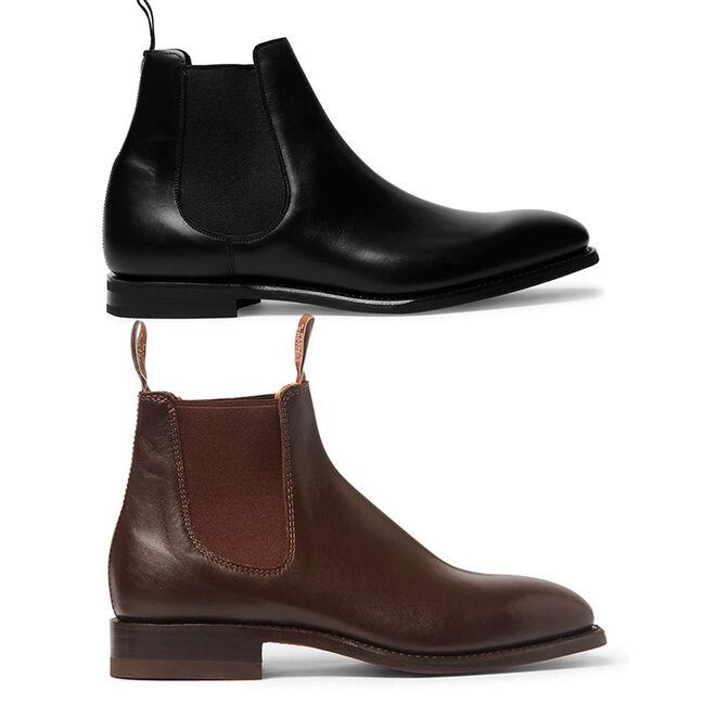 Arriba, botas modelo Prenton, de Church's. Abajo, en color marrón, de R.M. Williams.