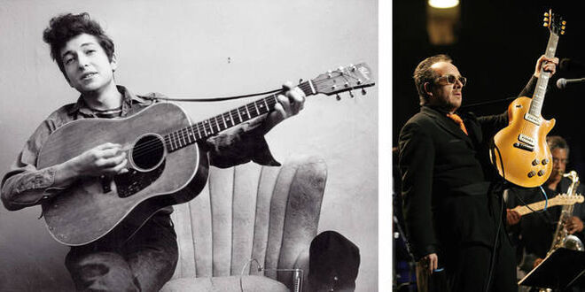 A la izquierda, Bob Dylan tocando una guitarra Gibson en los 60. Al lado, Elvis Costello.