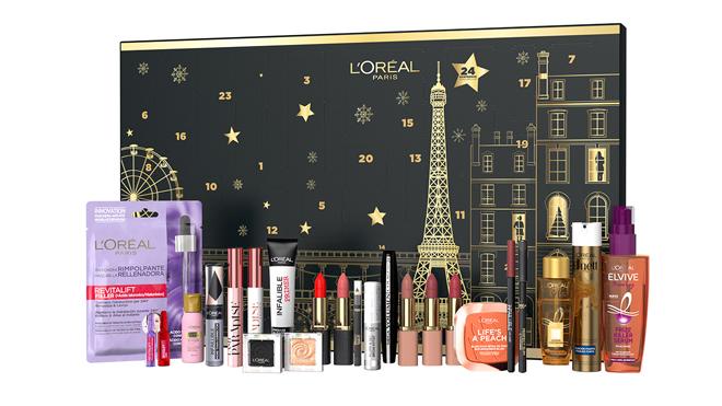 Calendario de adviento con cosméticos y maquillaje. PVP: 90€