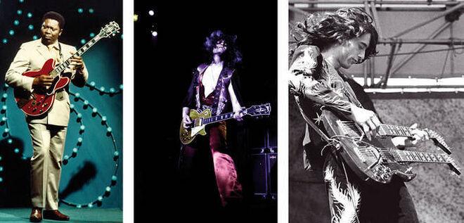 De izquierda a derecha, B. B. King, Marc Bolan (T.Rex) y Jimmy Page (Led Zeppelin).
