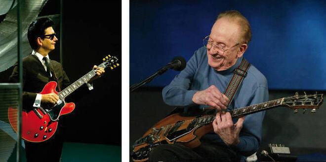 A la izquierda, Roy Orbison. A la derecha, Les Paul.