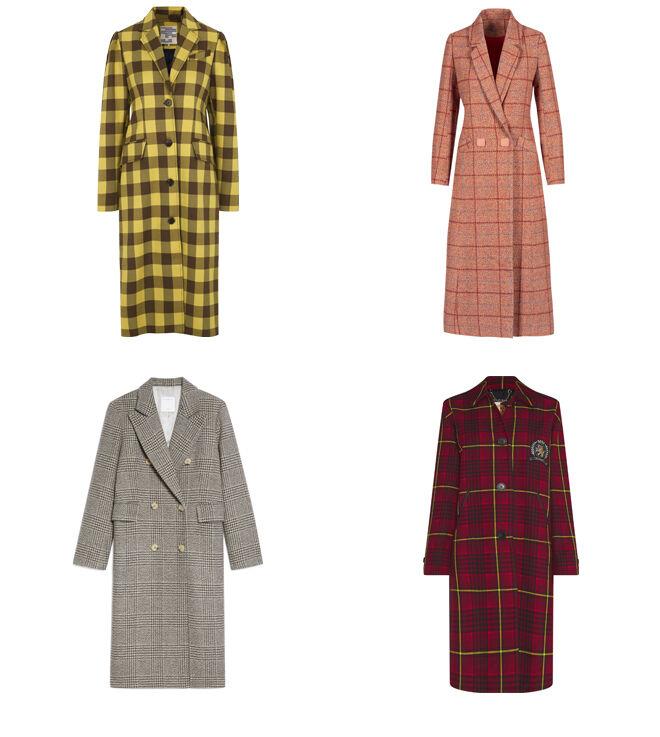 DANISH REVEAL Abrigo amarillo de cuadros. PVP: 359€ // ANONYME DESIGNERS Abrigo rosa. PVP: 235€ // SANDRO Abrigo en tonos grises. PVP: 545€ // TOMMY HILFIGER Abrigo rojo. PVP: 560€