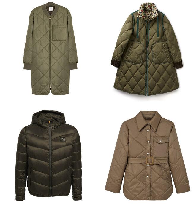 YERSE Abrigo caki largo. PVP: 140€ // BENETTON Abrigo con  forro de leopardo. PVP: 259€ // POLO CLUB Plumas corto verde. PVP: 160€ // LOREAK MENDIAN Abrigo marrón. PVP: 180€