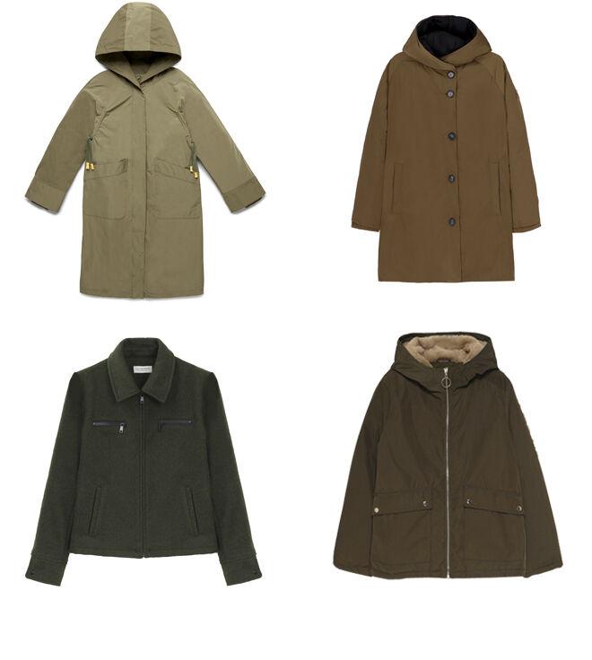 BENETTON Abrigo caki con capucha. PVP: 189€ // OOF WEAR Abrigo marrón. PVP: 339€ // LILI SIDONIO Cazadora verde. PVP: 111.95€ // LEFTIES Abrigo con forro de borrego. PVP: 25.99€