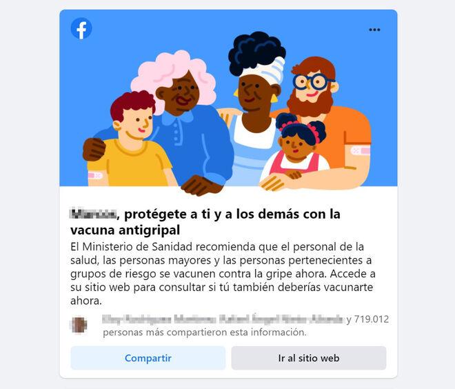 Campaña de vacunación personalizada del Minisiterio de Sanidad en Facebook