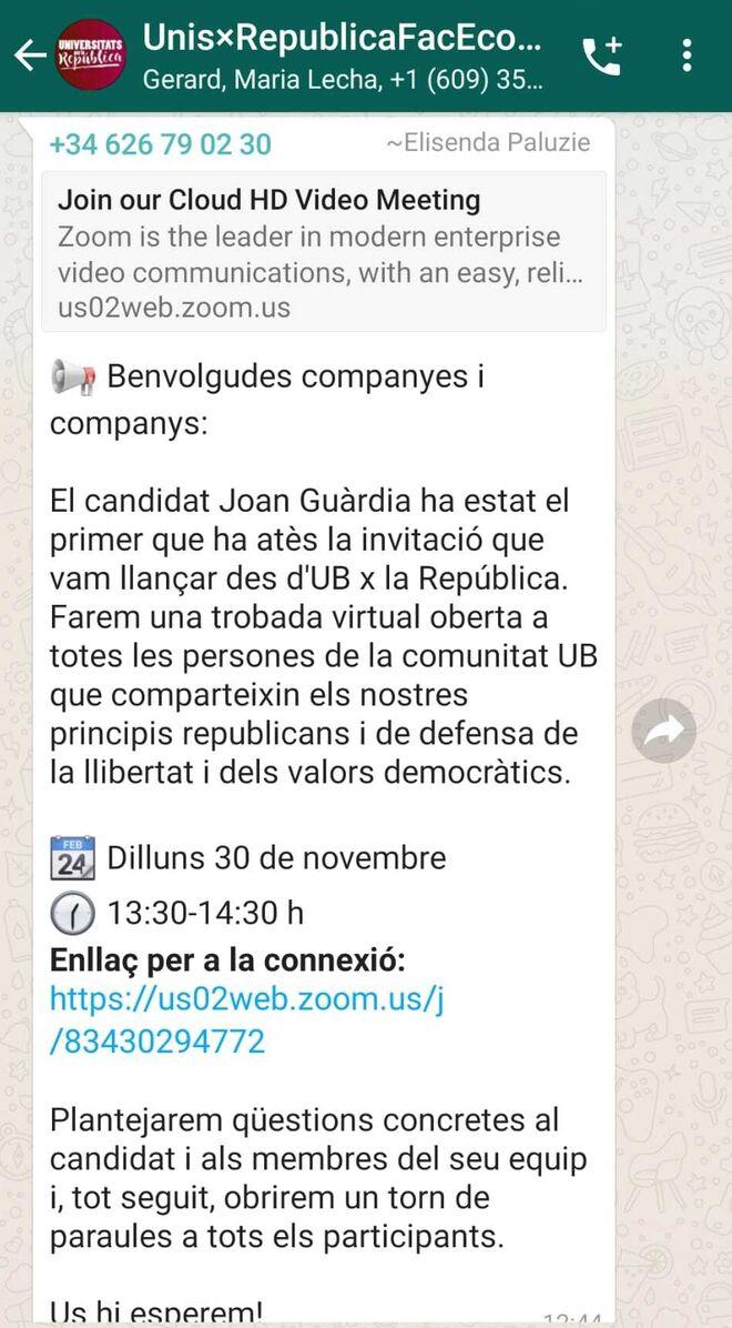 Chat de 'Universitaris per la República'