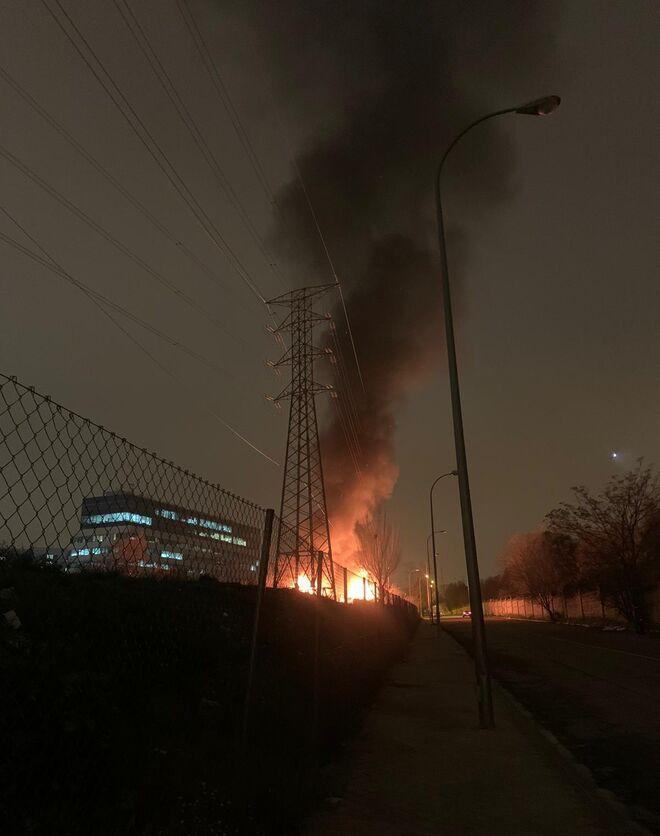 Incendio de una chabola en Las Tablas, Madrid