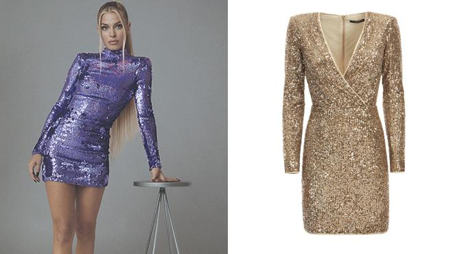 Jessica Goicoechea con un vestido de Bershka y un diseño dorado de Guess