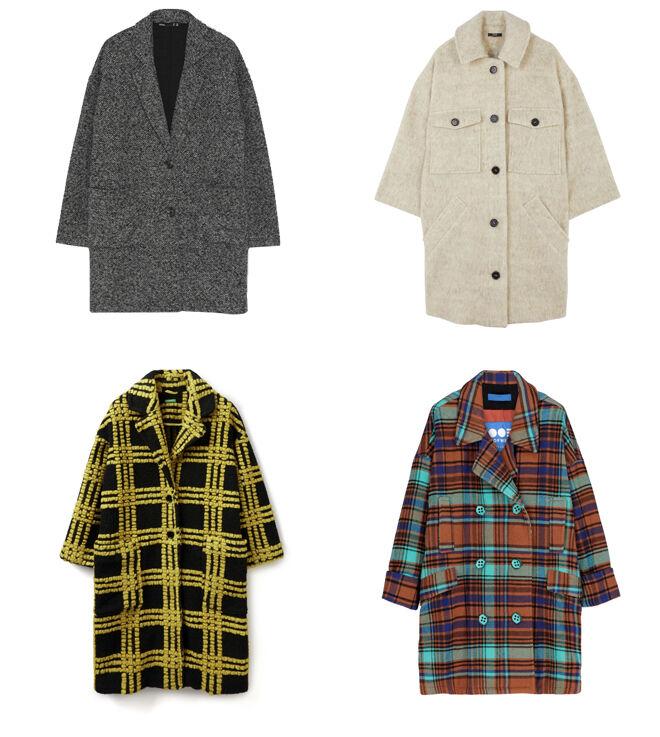 LEFTIES Abrigo gris. PVP: 19.99€ // PARFOIS Abrigo blanco. PVP: 59.99€ // BENETTON Abrigo con cuadros amarillos. PVP: 189€ // OOF WEAR Abrigo de cuadros multicolor. PVP: 537€