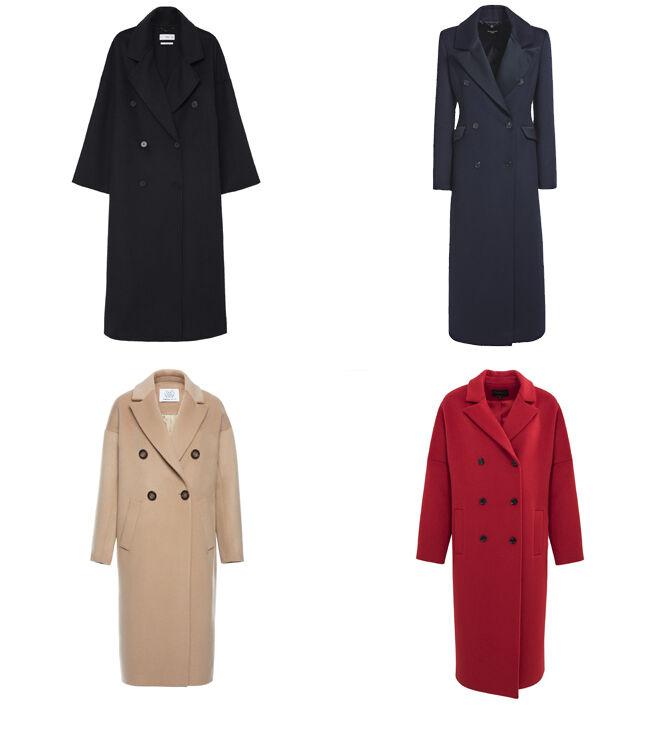 MANGO Abrigo negro. PVP: 119.99€ // GUESS Abrigo marino. PVP: 359€ // CYRANA Abrigo crudo. PVP: 498€ // IKKS Abrigo rojo. PVP: 375€