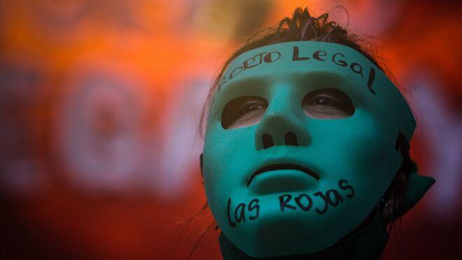 Manifestación a favor del aborto legal en Argentina