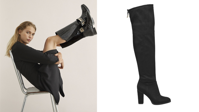 Modelo con botas negras de Dansi y botas mosqueteras de Deichmann