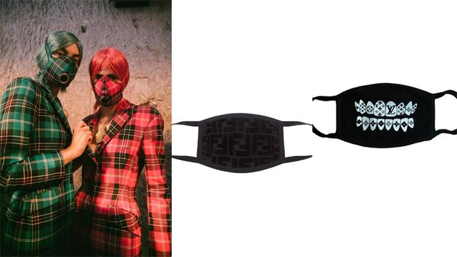 Modelos con máscaras de Marina Serre y diseños de Fendi y Louis Vuitton