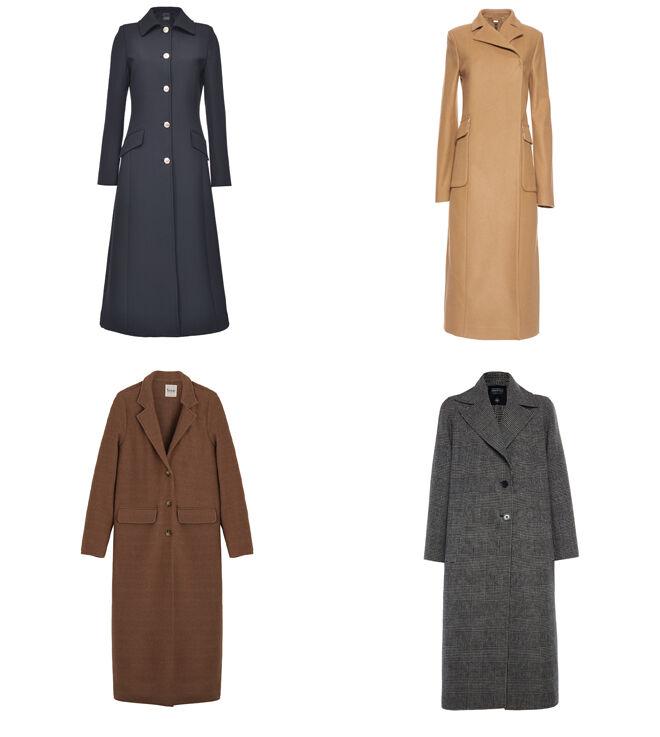 PINKO Abrigo marino. PVP: 495€ // MANILA GRACE Abrigo beige. PVP: 496€ // YERSE Abrigo marrón. PVP: 190€ // MIRTO Abrigo de cuadros gris. PVP: 410€