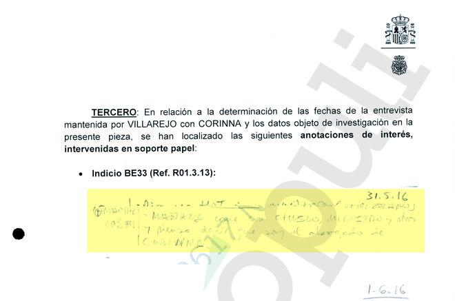 La anotación destacada por la Policía en uno de sus informes