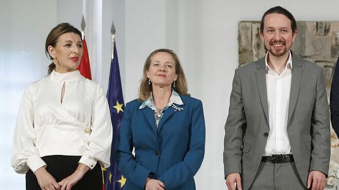Díaz, Calviño e Iglesias