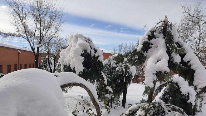 Patio del IES Juan de Mairena cubierto de nieve el pasado viernes.