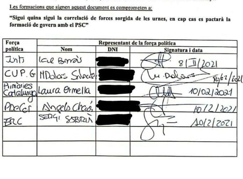 Los partidos independentistas firman por escrito que no pactarán con el PSC