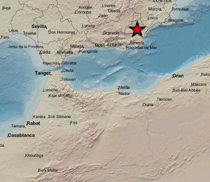 Registrado un terremoto de magnitud 2,6 a escasa profundidad en Albox (Almería)