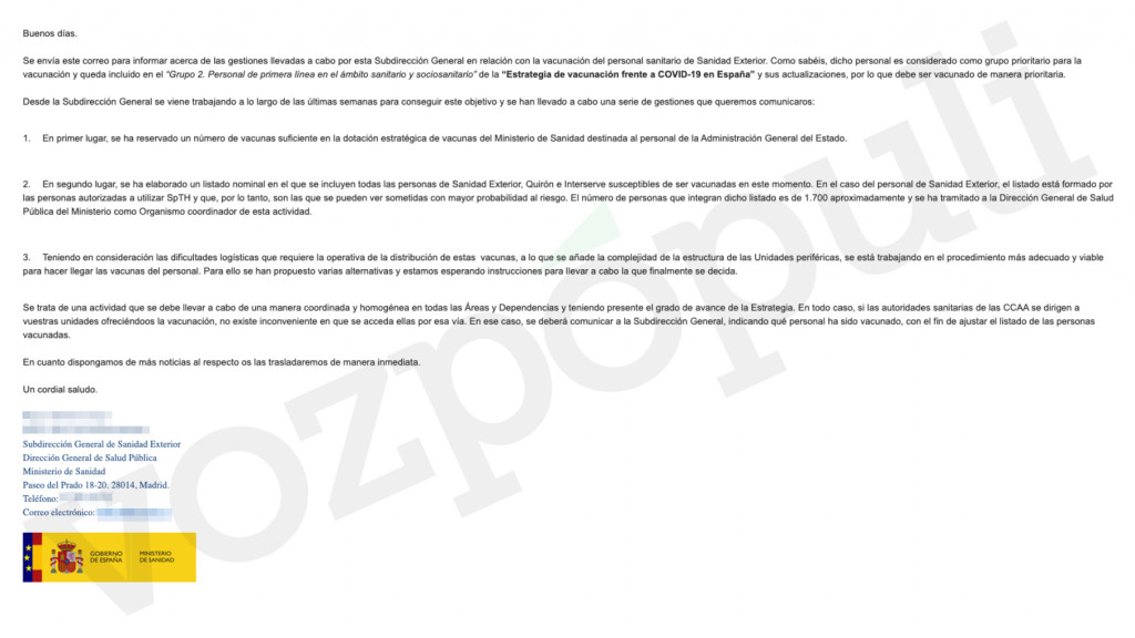 Email donde el Ministerio de Sanidad reconoce una reserva de vacunas para la Administración General del Estado.