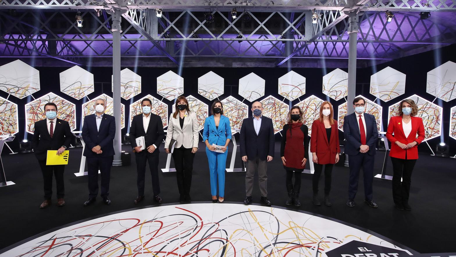 Los participantes en el debate de candidatos a las elecciones catalanas del 14-F.
