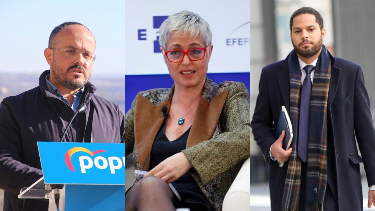 Alejandro Fernández, Anna Grau e Ignacio Garriga, candidatos de PP, Ciudadanos y Vox, respectivamente, en las elecciones catalanas.