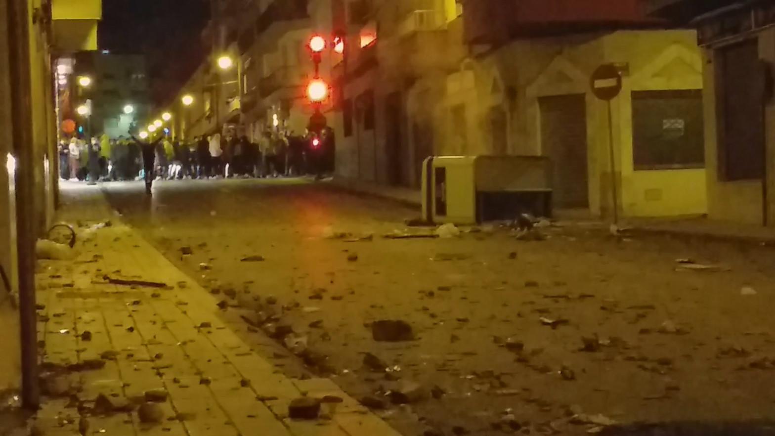 Imagen de los disturbios en Linares del pasado sábado.