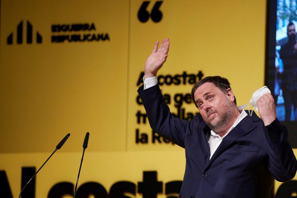 El presidente de Esquerra, Oriol Junqueras, en un discurso durante un mitin de Esquerra Republicana de Catalunya (ERC), que pide ahora un nuevo referéndum de autodeterminación.