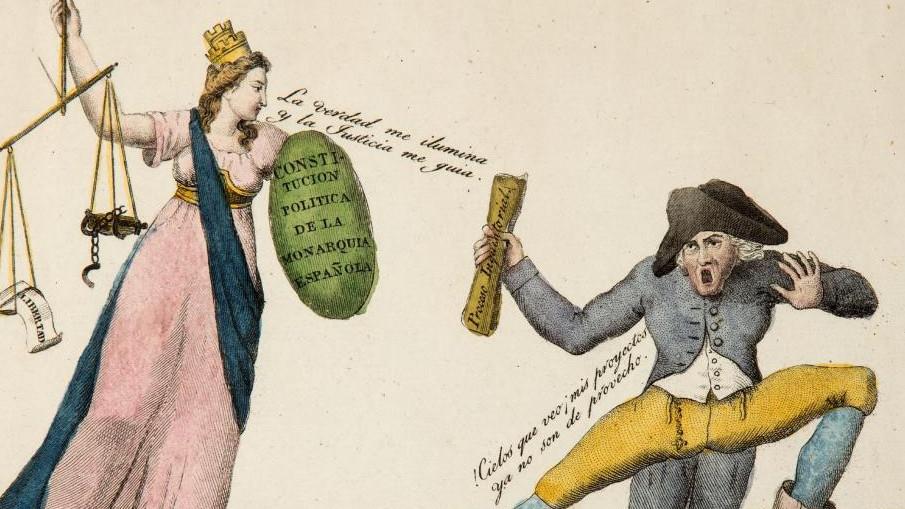 El Persa aterrado delante de la Constitución Ca. 1820. Aguafuerte y buril Museo de Historia de Madrid. Inv. 2132