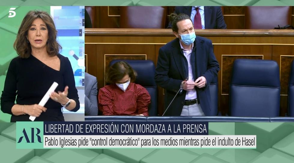 """Ana Rosa Quintana carga contra Pablo Iglesias y su obsesión de controlar """"los telediarios"""""""