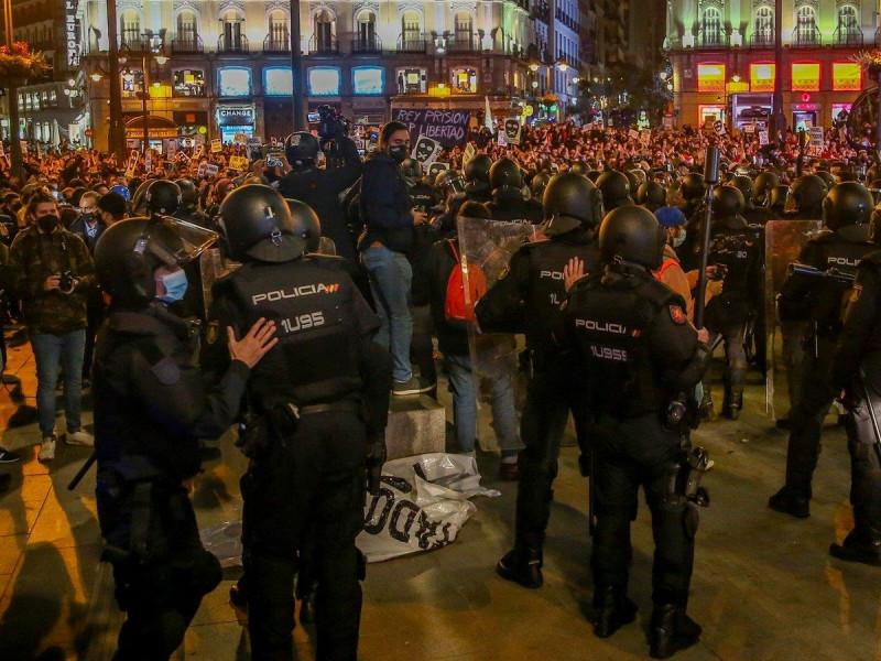 Protesta en apoyo al rapero Pablo Hasel en Madrid.