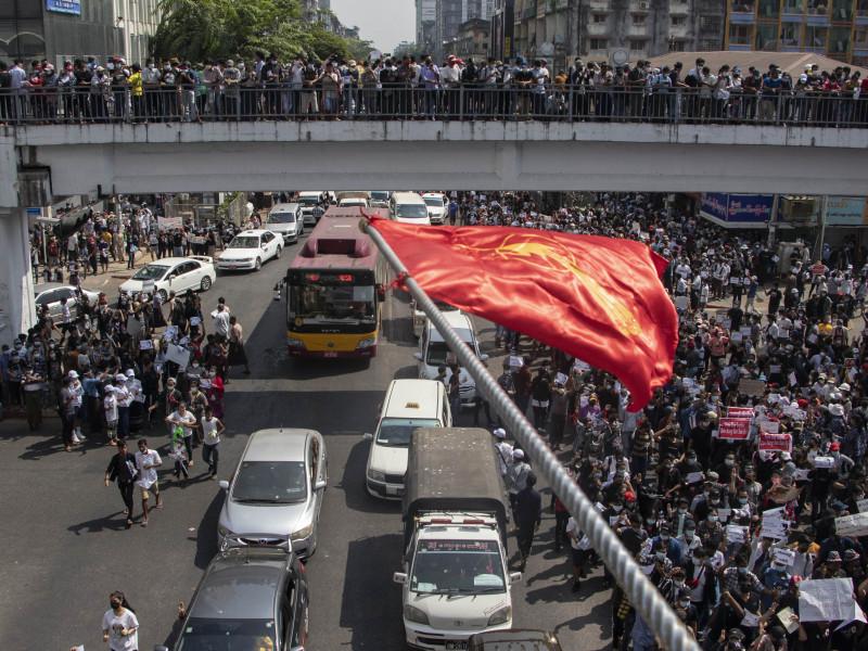 Birmania. Protestas contra la junta militar en Rangún