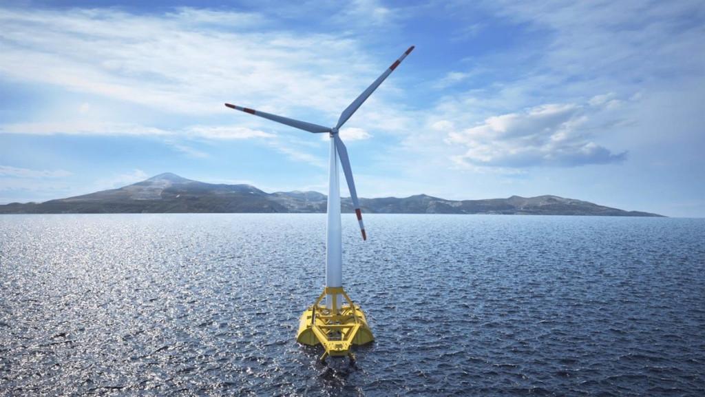 Molino de energía eólica flotante.