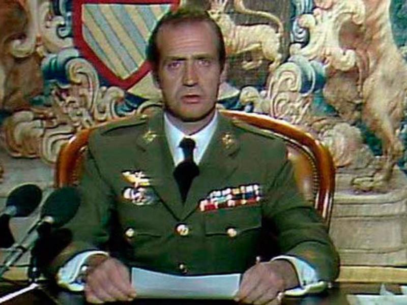 El rey Juan Carlos I, durante su discurso a la nación ante el golpe de Estado del 23-F.