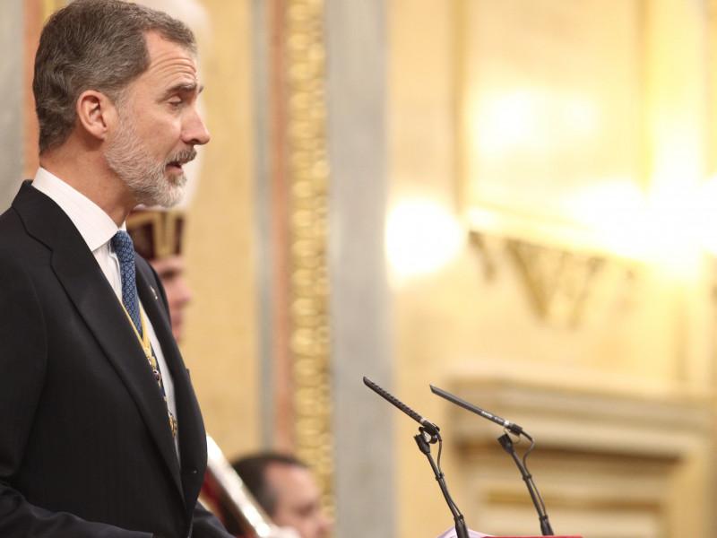 El rey Felipe VI, durante su discurso en el Congreso de los Diputados durante la apertura de la XIV Legislatura, en 2020.
