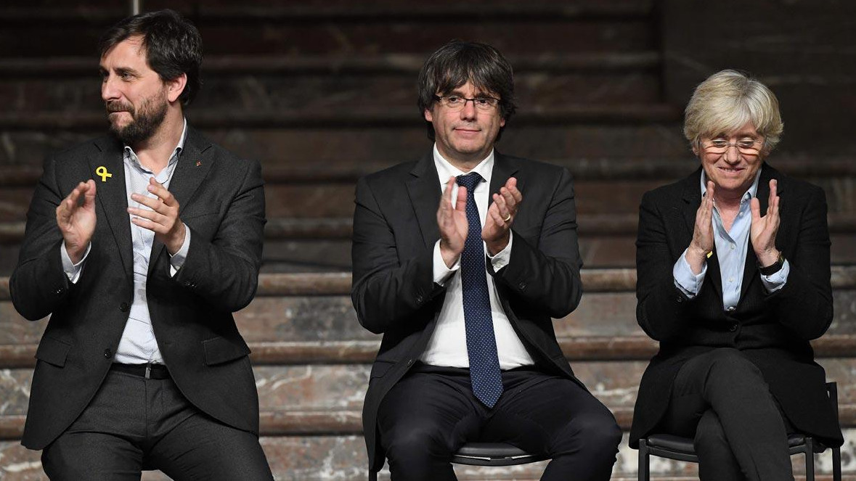 Toni Comín, Carles Puigdemont y Clara Ponsatí.