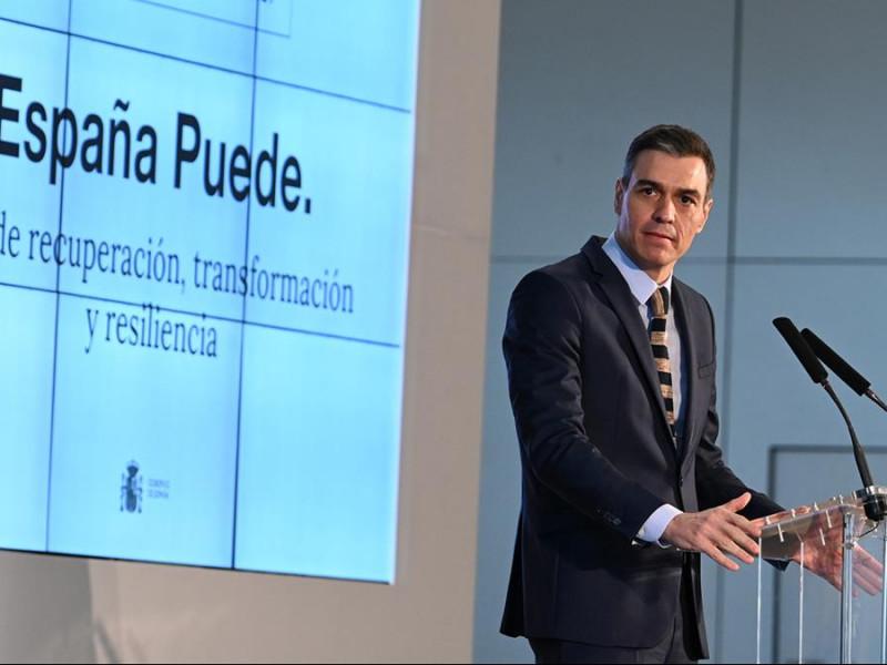 El presidente del Gobierno, Pedro Sánchez, durante una comparecencia sobre los fondos europeos de recuperación.