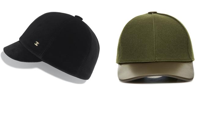 CHANEL Gorra negra con logotipo dorado. PVP: 1.290€ // BENNETON Gorra verde y marrón. PVP: 35.95€