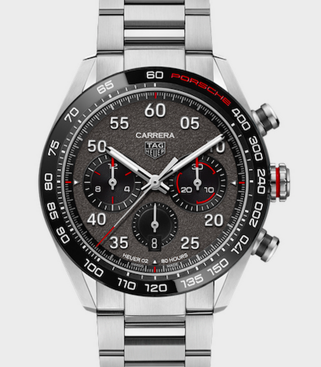 ElCarrera PorscheChronograph muestra una serie de detalles característicos del diseño de Porsche