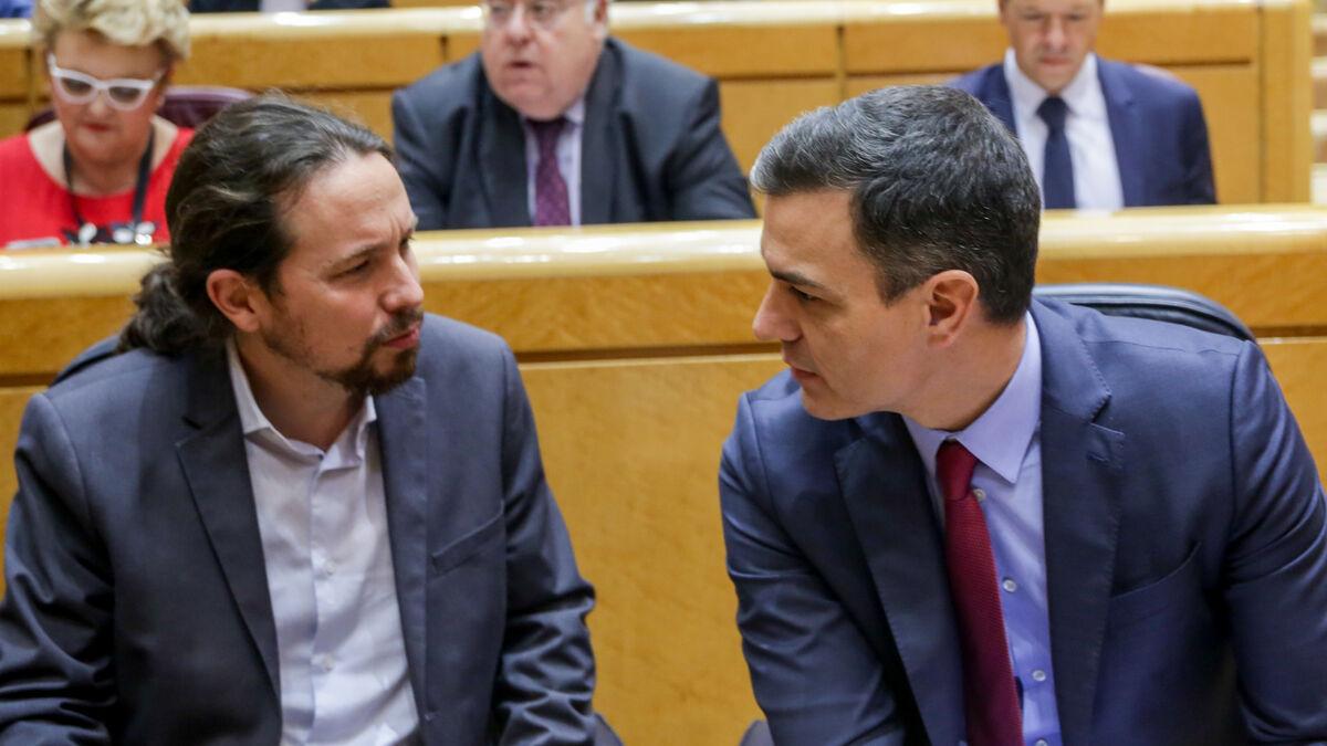 """Sánchez e Iglesias montan un acto exprés para exhibir """"la unidad del Gobierno"""" frente a la división de Madrid"""